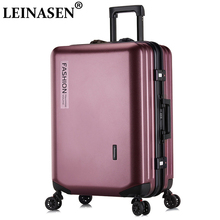 цена на LEINASEN Popular fashion rolling luggage 20 22 24 26 inch brand carry on box men travel suitcase women  trolley luggage zipp