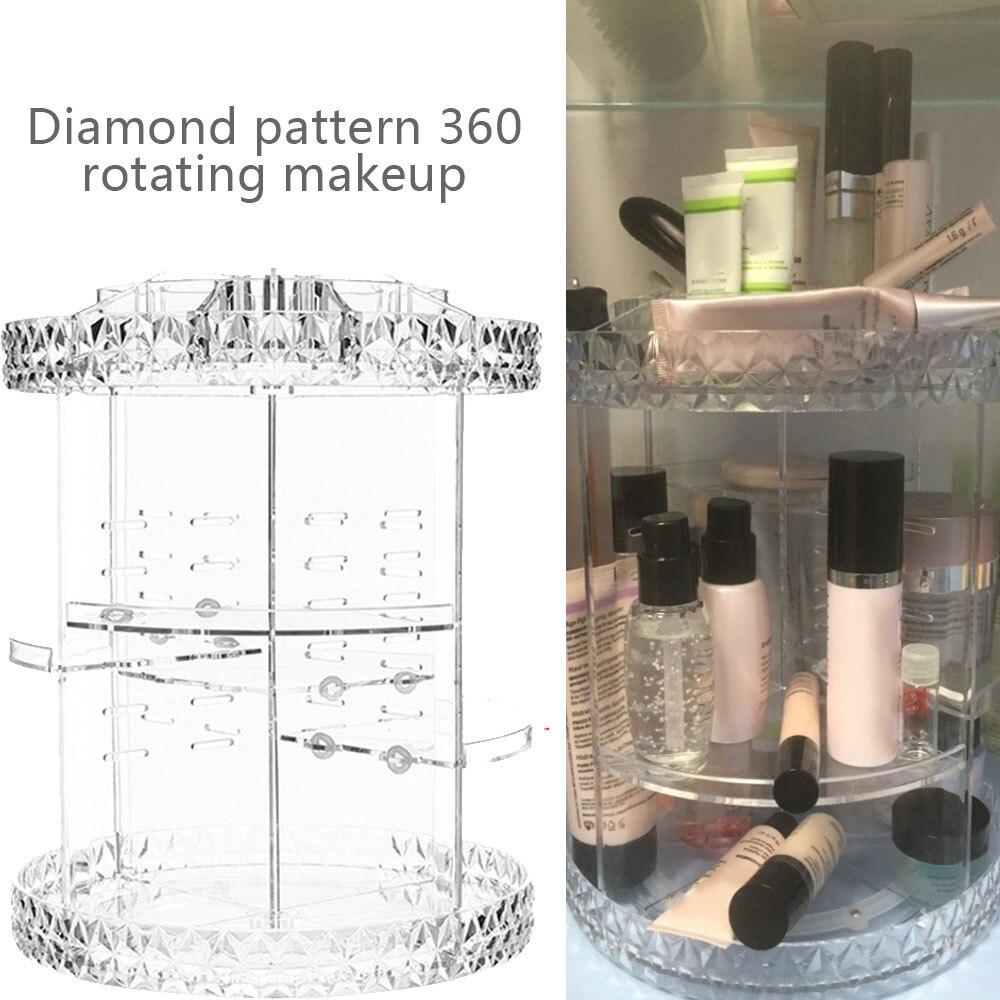 DIY 360 grados de rotación Organizador de maquillaje de belleza Caja de almacenamiento de cosméticos de acrílico transparente moda multifunción desmontable