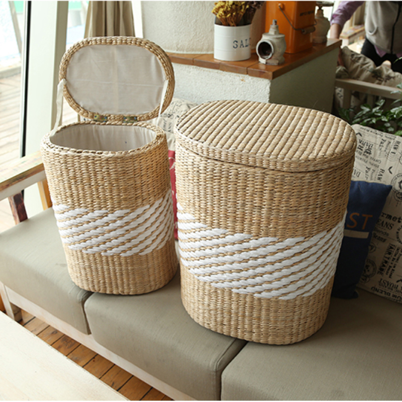 Large wicker storage basket with lid : Small large home wood wicker rattan storage basket bin