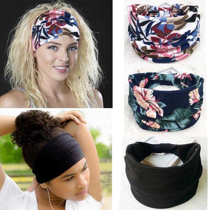 Wide Cotton Stretch Elastic Sport Women Headband Hair Accessories Turban Headwear Bandage On Head Hair Band Bandana