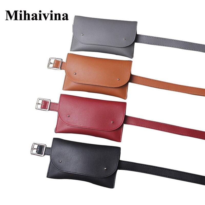 Mihaivina en cuir de mode téléphone sacs à la taille Fanny Pack occasionnel  petite ceinture taille sac multifonction sac femmes sac vintage sac à main 8cb48f3dafa