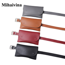 Mihaivina fashion leather phone waist bags Fanny Pack casual small belt waist bag multifunction bag women bag vintage handbag