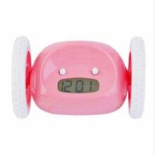 Милый бегущий движущийся бегущий на колесах цифровой ЖК-будильник Чейз будильник креативный настраиваемый Snooze Time Up Clocky Clock