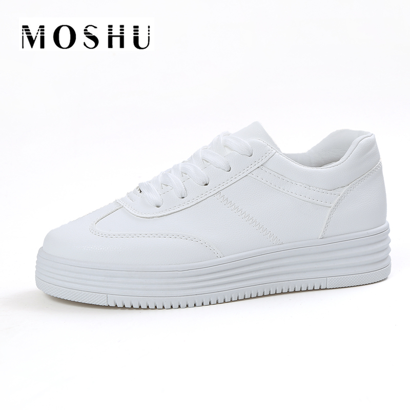 Fashion Summer Sneakers Women Causal Shoes Platform Creepers Shoes Basket Flats White Leather Trainers Canvas Chaussure