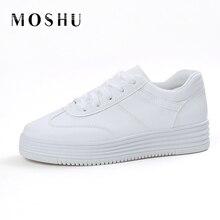 Mode D'été Sneakers Femmes Causal Chaussures Plate-Forme Creepers Chaussures Panier Appartements Blanc Formateurs En Cuir Toile Chaussure Femme