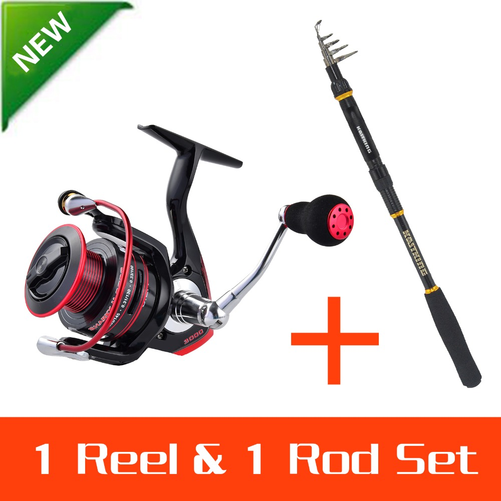 KastKing 1.8-3.6M Portable Foldable Travel Spinning Fishing Rod Carbon with 2000 Series Spinning Reel Rod Combo Fishing Set