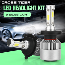 CROSS TIGER S2 LED 10000LM/Set Car Headlight H1 H3 H4 H7 H11 H13 H27 9004 HB3 9006 HB4 9007 HB5 with 3 Sides Light Cree Lamp