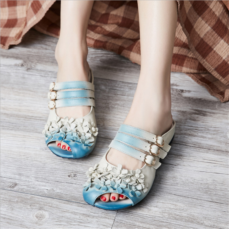 2017 Leisure Gradient Color Floral Handmade Genuine Leather Shoes Women Sandals Flat Slippers