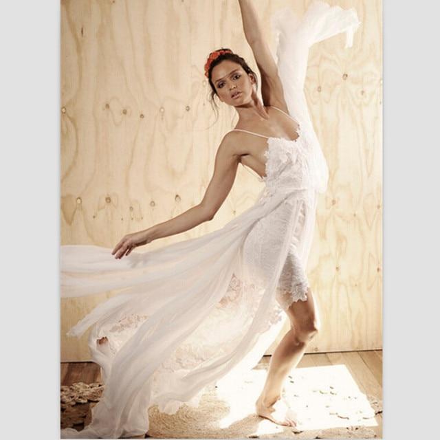 Romantische White Lace Brautkleider 2015 Neue Ankunft Spaghetti V ausschnitt Seitenschlitz Bohemian Wedding Kleider Benutzerdefinierte Braut Kleid in ...