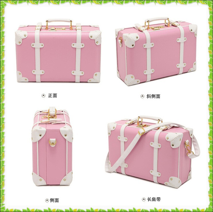 Online Shop Fashion Pink PU Small luggage travel bag vintage ...