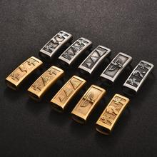 Stainless Steel Slide Charms Ancient Egypt Big Hole 6x12mm Flat Leather Cord Slider Spacer Beads for Bracelet DIY Jewelry Making