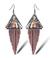 Big Fashion Exaggerated Earring Metal Chain Long Tassel Bohemia Tassel Vintage Drop Earrings Jewelry Earrings With