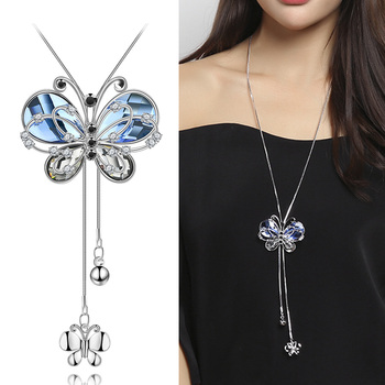 Luxury Necklace Women Blue Crystal Butterfly Statement Chain Choker Fashion Jewelry