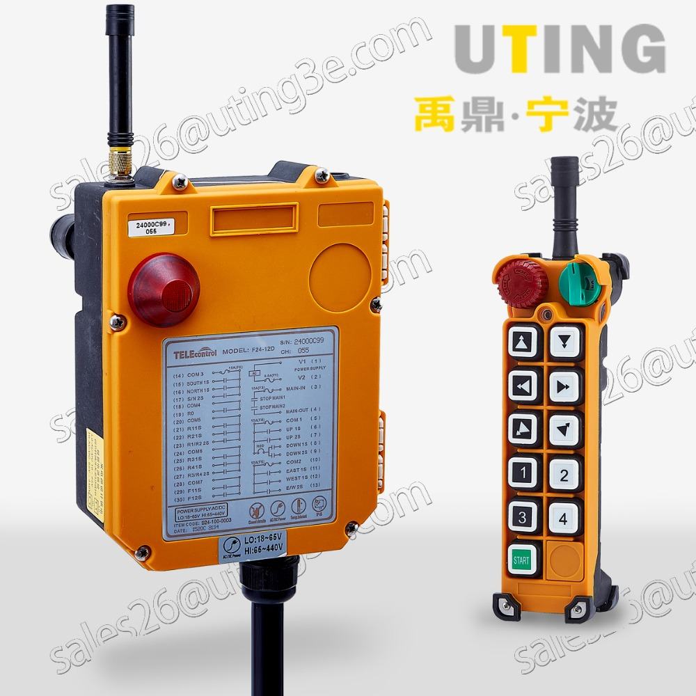 12V AC/DC UHF 425-446 MHZ Industrial Wireless Crane Remote F24-10D controller Switch 1 receiver 1 transmitter for Hoist Crane ac65 440v industrial remote control wireless hoist crane remote control switch 1 receiver and 1 transmitter push button switch