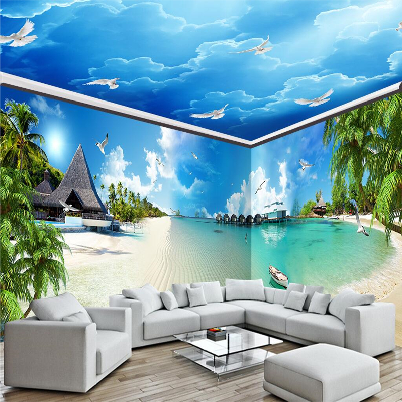 3d Sky Ceiling Wallpaper Beibehang Blue Sea Coast Beach Whole House Background Wall