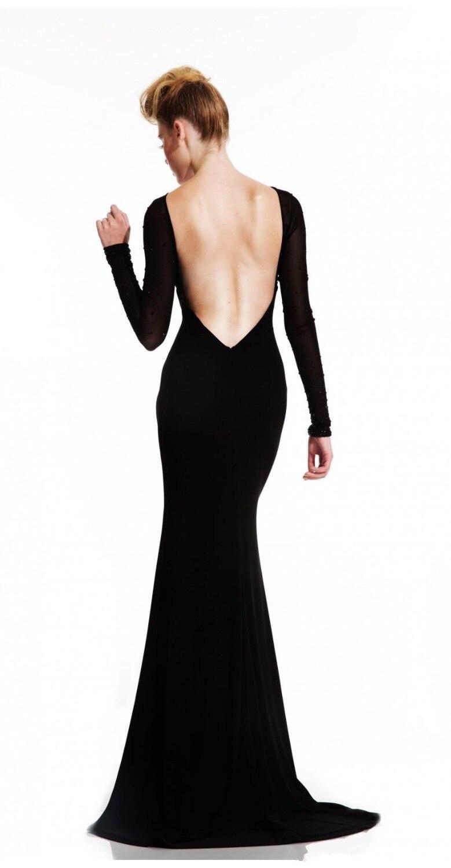 Aliexpress.com : Buy Fitted Simple Black Vestido Longo High Neck ...