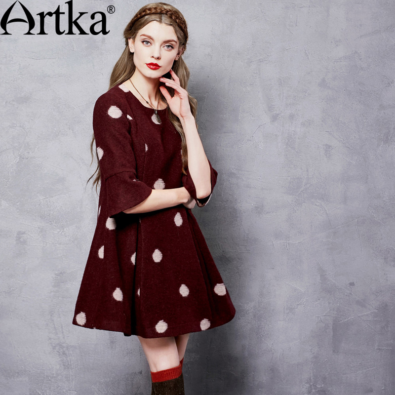 ARTKA Women s Winter New Dot Jarquard A Line Woolen Dress Vintage O Neck Half Sleeve