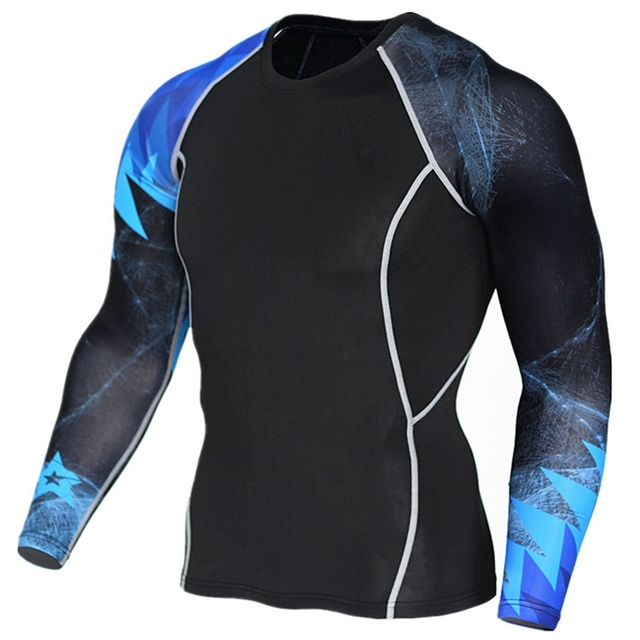Printing men Sport T Shirt Blue Black Patchwork Long Sleeve Running Fitness  Gym Men Crossfit T-Shirts Mens Compression Shirts 76e5512f559