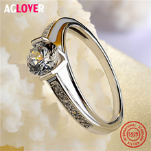 цена на Christmas New 925 Sterling Silver Woman Ring Fashion Woman Exquisite AAA Crystal Ring Female Wedding Jewelry