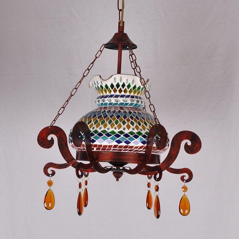 Подвесной светильник в стиле индейки с цветным стеклом, мозаичный светильник с функциями ресторана, кафе, Интернет, кафе, украшения для бара