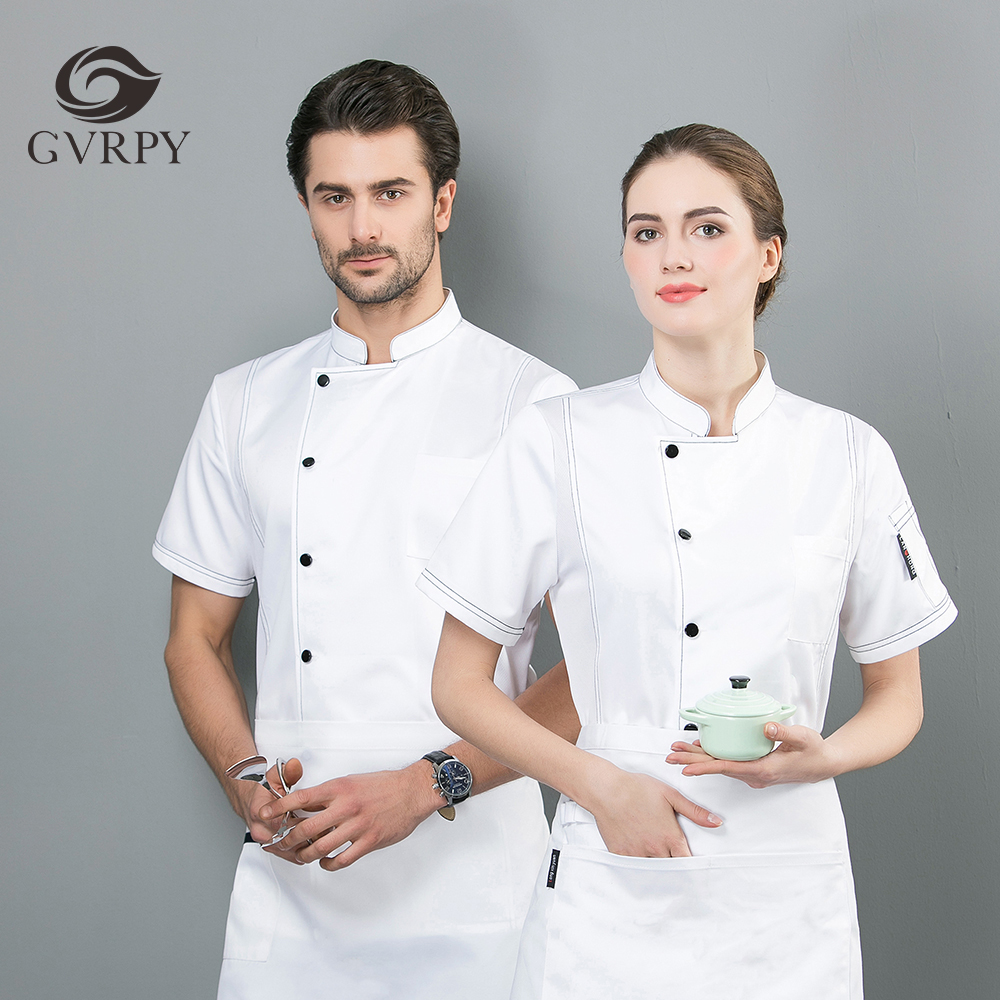 High Quality Single Breasted Chef Jacket Short Sleeve Overalls Coffee Shop Food Service Barber Shop Restaurant Hotel Work Jacket