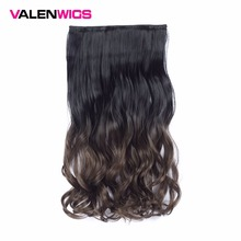 Valen 22 Long Wavy One Piece Clips in on Synthetic Hairpieces Ombre Color Full Head 5 piece Curly Hairstyle For Women