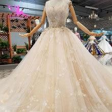 AIJINGYU Vestidos de Casamento Vestidos de Designers Retro Simples Tulle Train Fat Boho Vestidos de Manga Longa Vestido de Casamento Branco Novo