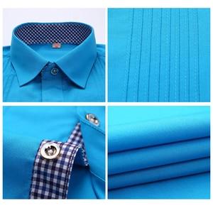 Image 5 - 2019 브랜드 뉴 남자 3 차원 셔츠 결혼 된 신랑 셔츠 슬림 맞는 groomsman 긴 소매 남자 드레스 턱시도 셔츠 yn047