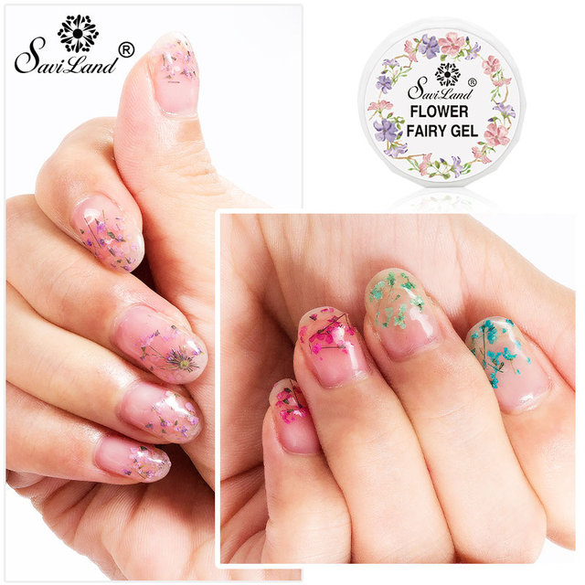 Saviland Flower Fairy Series UV Gel Lak Natural Dry Flower Gel ...
