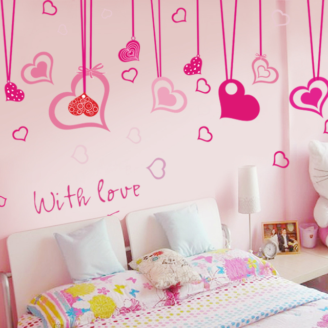 Flying Colors Of The Removable Stickers Bedroom Wall Pink Cute Real Love Curtain