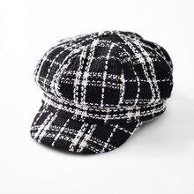 Women Newsboy Cap Autumn Winter Black White Felt Hats For Men Women Vintage Thick Octagonal Cap Female Casual Boina