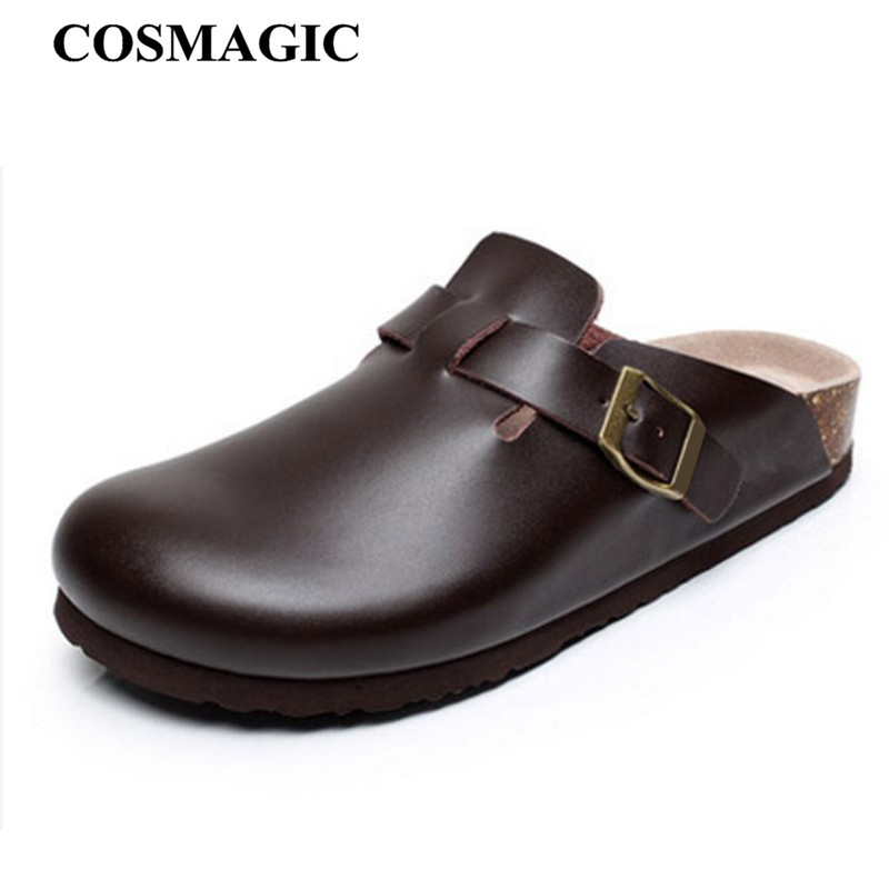 COSMAGIC 2019 New Summer Women Beach Cork Slippers Casual Solid Buckle PU Leather Clogs Slides Slip