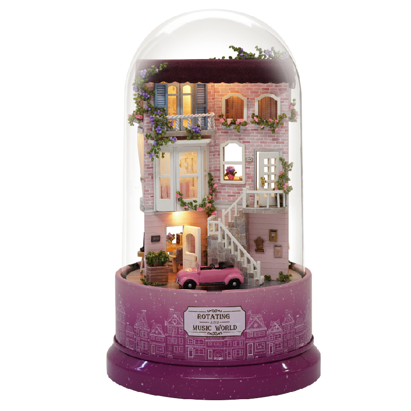 Miniature Flower Room Dollhouse DIY Wooden Dolls House Furniture Kits Glass Cover With LED Lights Car And Music Box Toy Gift