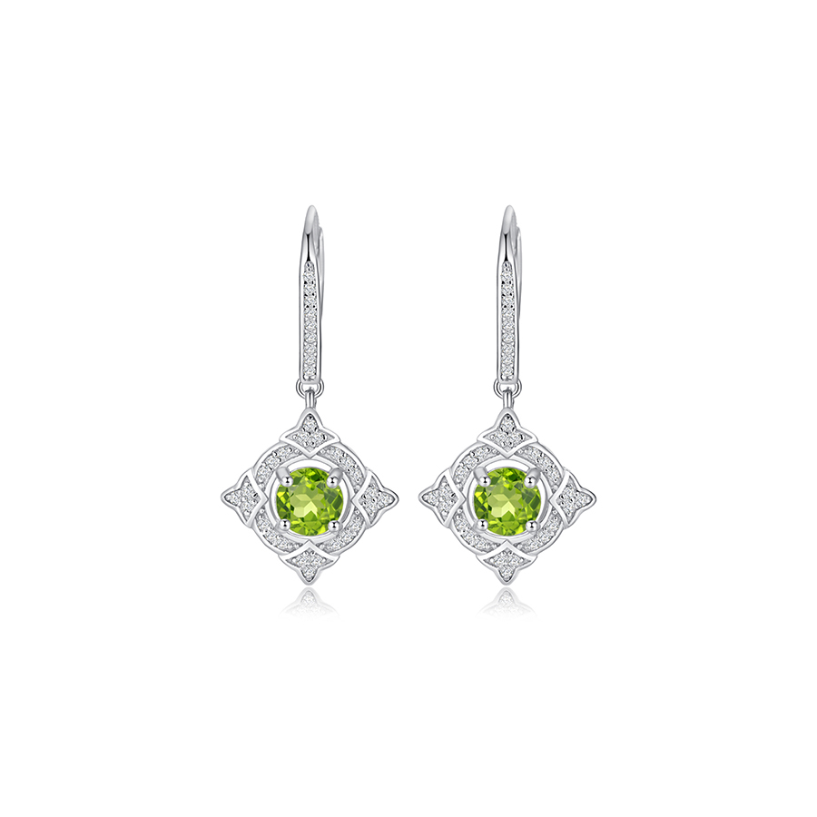 PJC Natural Gemstone 1.64cts Round Shape Peridot 0.51cts Round Shape White Zircon 925 Sterling Silver Drop Earrings