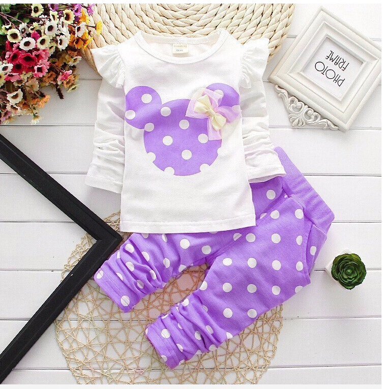 Girls clothing sets Mickey Children Clothes Set Cotton Bow Tops T shirt Leggings Pants Baby Kids 2 Pcs Suit Costume For 0-4 Year new baby girls boys mickey clothing sets kids autumn character cotton long sleeve shirt pants suit children set for 1 4 years