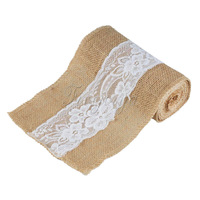 1Piece Wedding Burlap Chair Sashes Lace Hessian Jute Burlap Chair Sash Bow For Wedding Party Baby