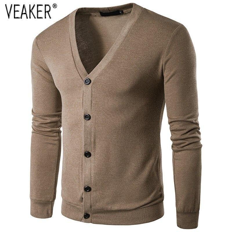 2018 Herbst Männer V Neck Pullover Mantel Männlichen Lange Pullover Slim Fit Einfarbig Beiläufige Gestrickte Herren Sweatercoat Strickwaren S-2xl