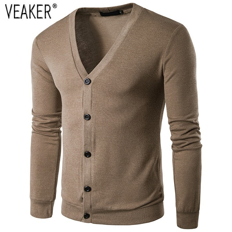 2019 Autumn Men's V Neck Sweater Coat  Male Long Sweater Slim Fit Solid Color Casual Knitted  Mens Sweatercoat Knitwear S-2XL