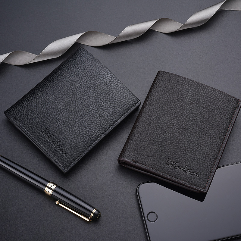 Men Wallet Leather Luxury  Short Credit Card Thin Short Mini Slim Cute Small Black Purse Wallet Money Clip