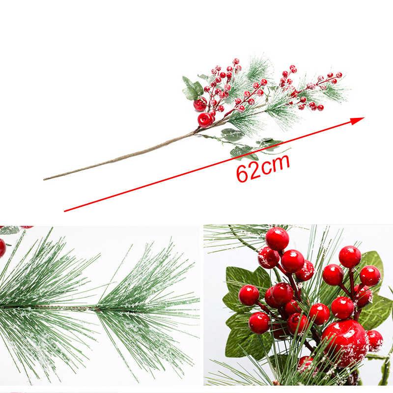 Buatan Cabang Pinus Buah Merah Buatan Berry untuk Dekorasi Natal Palsu Bunga Rumah Pesta Dekorasi Bunga Pengaturan