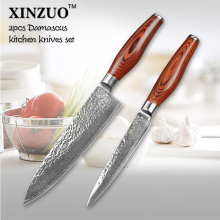 XINZUO 2 pcs kitchen knife set Japanese VG10 Damascus kitchen knife set chef utility knife hammer striae forging free shipping