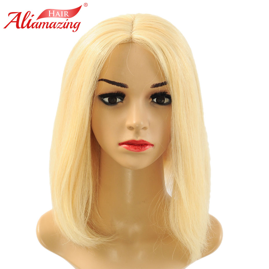 Ali Amazing Short Human Hair Bob Wig 250% Density blonde 613 Color Remy Brazilian Lace Front Human Hair Wig Preplucked