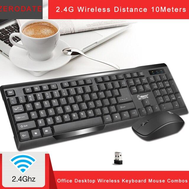 คีย์บอร์ดไร้สายเมาส์ Combos 2.4G แป้นพิมพ์เกมคอมพิวเตอร์เม้าส์ชุดแป้นพิมพ์คีย์บอร์ด 104 ปุ่มเมาส์ Drop Shipping