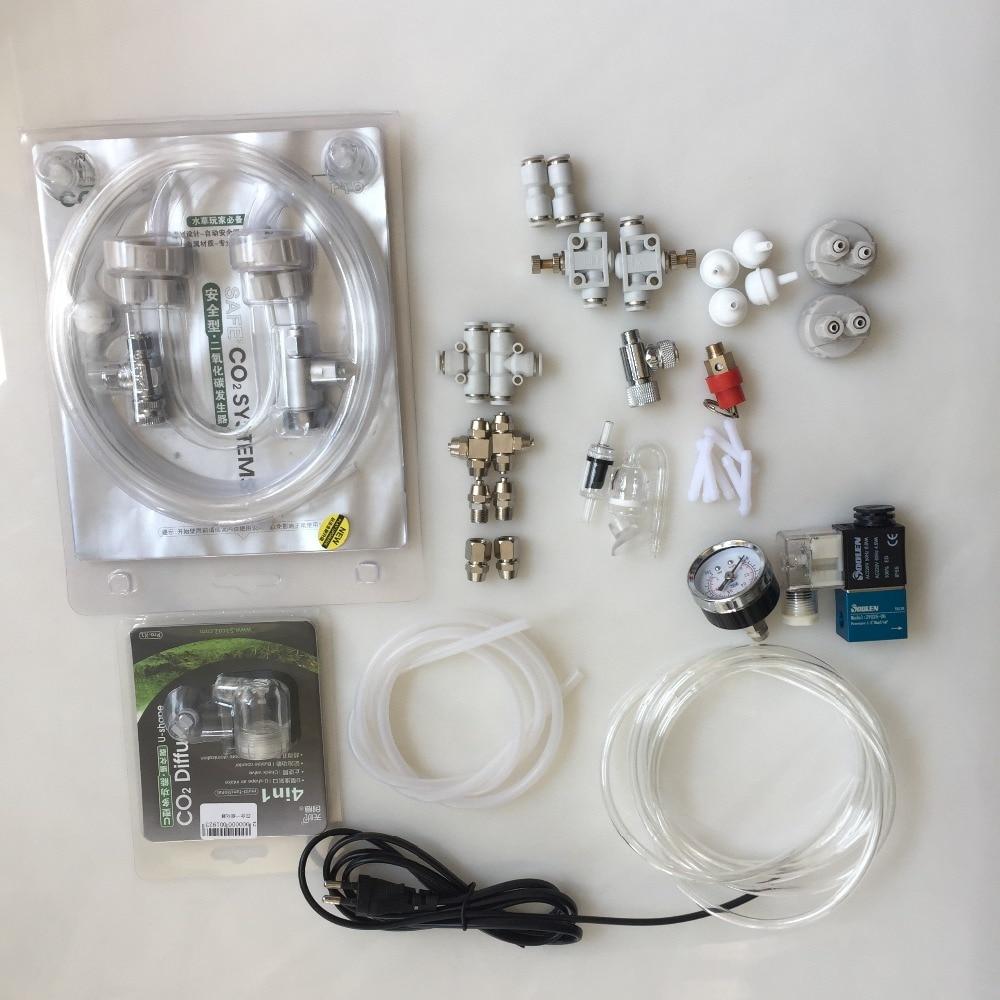 CO2 Diffuser Tube Tube Valve Guage Bottle Cap Kit Guage Bottle Cap Kit 2-ways/3ways CO2 Equipment Parts Accessories