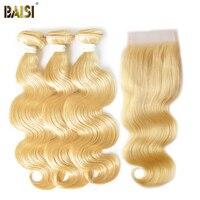 Байси 3 Связки с Синтетическое закрытие волос 100% человеческих Химическое наращивание волос перуанский Девы волос Средства ухода за кожей в