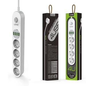 Image 5 - Power Strip Eu Plug Muur Meerdere Socket Draagbare 4 Outlet 4 Usb poort Voor Mobiele Telefoons Smartphones Tabletten Netwerk Filter
