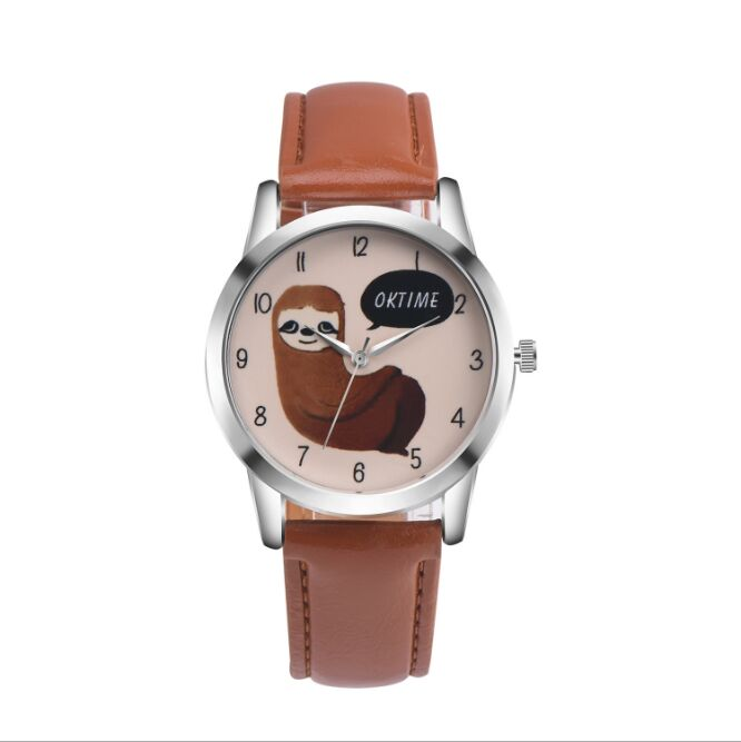 Factory Price  Brand New OKTIME Sloth Leather Watch Fashion Watches For Ladies Women Female Wristwatches