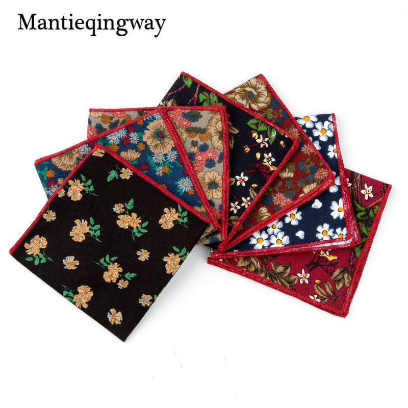 Mantieqingway Pocket Square Floral Handkerchiefs Fashion Casual Cotton Printed Pocket Handkerchief For Men Business Suit Hankies