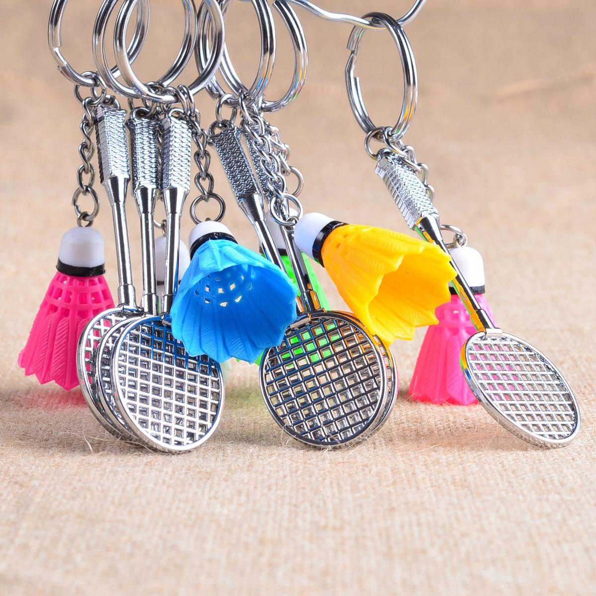 Mini Metal Badminton Racket Key Ring Souvenir Cute Badminton Racquet Ball Key-chain Sports Chain Gift 5 Colors L753