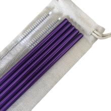 WOWSHINE высококачественный фиолетовый нержавеющей стали 304 набор соломинок 1 сумка+ 2 щетки+ 5 соломинки 6x215 мм прямой